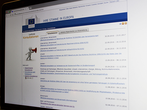 Screenshot ec.europa.eu/yourvoice/consultations/