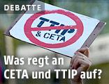 Gemaltes Verbotsschild CETA und TTIP