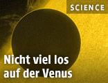 Ein Aufnahme des Planeten Venus vor der Sonne