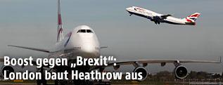 Flugzeug startet in Heathrow