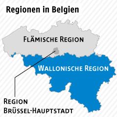 Karte zeigt Regionen in Belgien