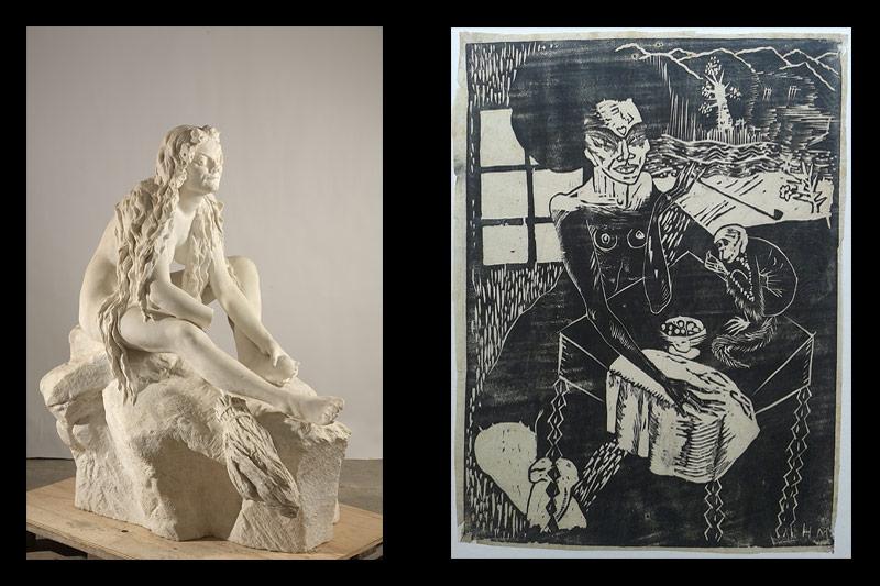 Teresa Feodorowna Ries: Hexe bei der Toilette für die Walpurgisnacht; Margarete Hamerschlag: Illustration zu Die Maske des Roten Todes