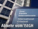 Eingang des Internationaler Strafgerichtshofs in Den Haag