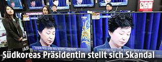 Südkoreanische Präsidentin Park Geun-hye während einer Fernsehansprache