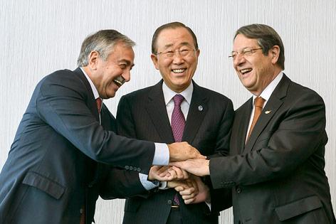 Ban Ki-Moon, Mustafa Akinci und Nicos Anastasiades