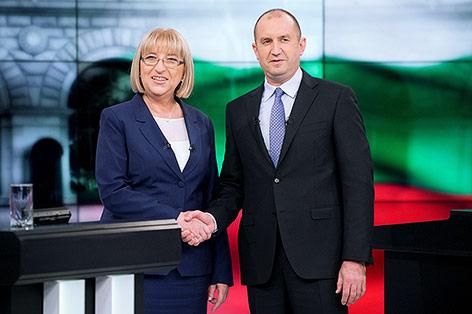 Parlamentspräsidentin Zezka Zatschewa und der Ex-General Rumen Radew