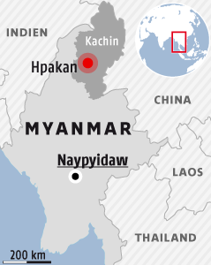 Karte zeigt die Provinz Kachin in Myanmar