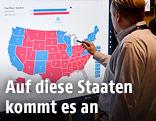 US-Landkarte mit den Swing States