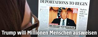 Online-Zeitungsartikel des Boston Global über die von Trump angekündigten Deportationen