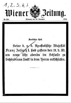 Titelblatt der Wiener Zeitung vom 22. November 1916
