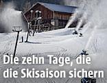 Schneekanonen in Betrieb