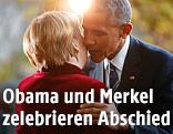 US-Präsident Obama begrüsst die deutsche Kanzlerin Merkel