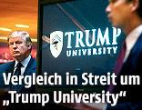 "Bildschirm zeigt Logo der ""Trump University"""