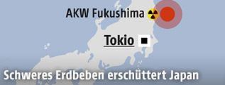 Karte zeigt Zentrum des Erdbebens in Japan