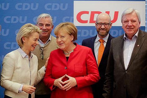 Ursula von der Leyen, Thomas Strobl, Angela Merkel, Petr Tauberund Volker Bouffier