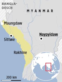 Karte zeigt Rakhina Küstengebiet in Myanmar