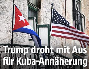Kubanische und US-Flagge