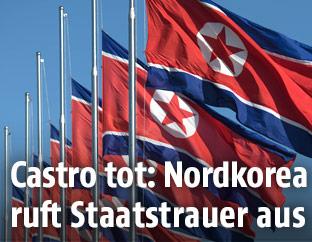 Nordkoreanische Flaggen auf Halbmast