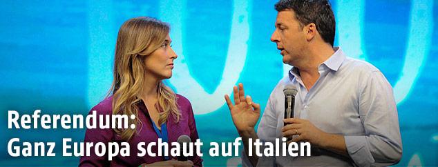 Italiens Regierungschef Matteo Renzi und Ministerin Maria Elena Boschi