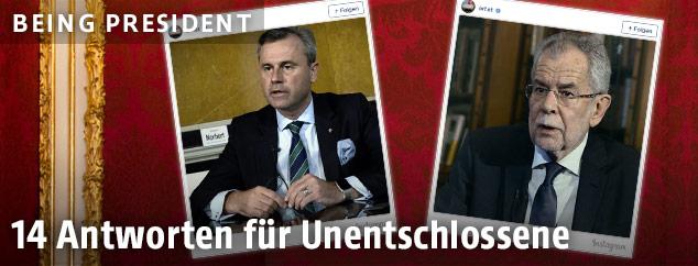 Montage von ORF.at-Instagram-Videostills von Hofer und Van der Bellen vor roter Hofburg-Tapete