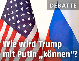 Russische und US-amerikanische Fahne