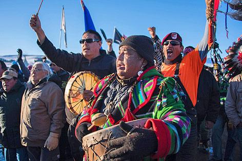 Jubelnde Demonstranten in North Dakota