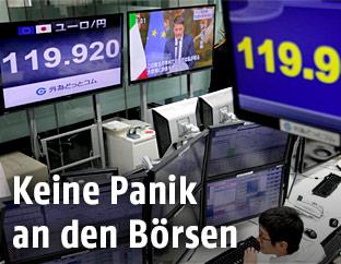 Bildschirme in einem Finanzbüro
