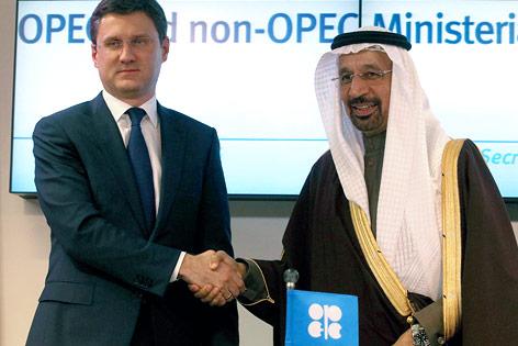 Alexander Novak und Khalid Al-Falih