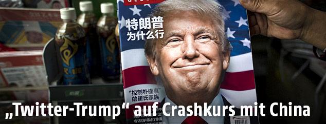 Donald Trump auf dem Titelblatt eines chinesischen Magazins