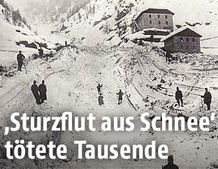 Soldaten nach Lawinenabgang 1916 in den Dolomiten