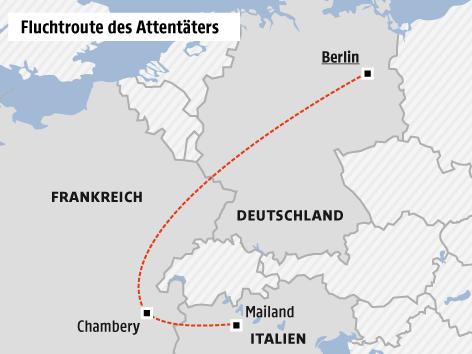 Karte zur Fluchtroute des Attentäters