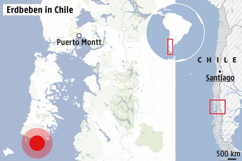 Karte zeigt Epizentrum von Erdbeben in Chile