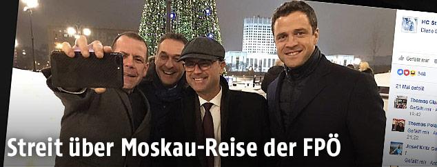 Screenshot eines Fotos von Hofer, Strache, Vilimsky und Gudenus in Moskau auf der Facebook-Seite von H.C. Strache