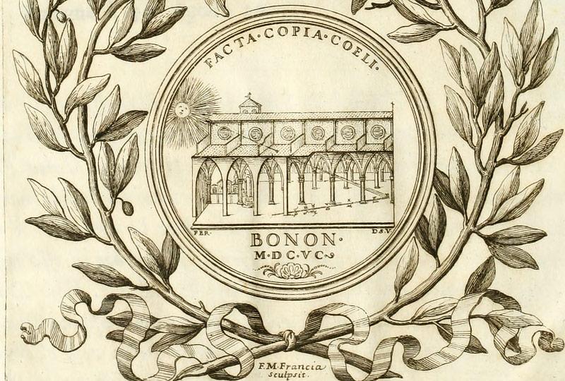 """Grafik aus dem Buch """"La meridiana del tempio di S. Petronio"""" zeigt die Sonne, die in eine Kirche strahlt"""