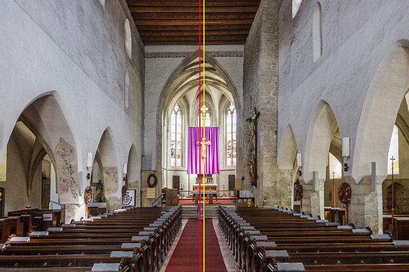 Sichtbarer Achsknick in der Pfarrkirche Langenlois
