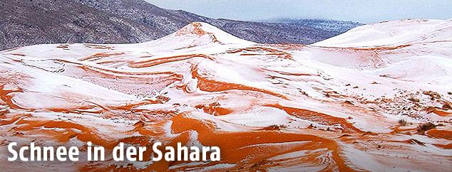 Wüste Sahara mit Schneedecke