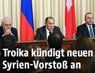 Javad Zarif, Sergei Lavrov und Mevlut Cavusoglu