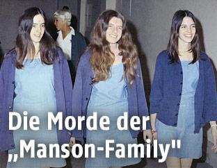 Archivbild der Charles-Manson-Anhängerinnen Susan Atkins, Patricia Krenwinkel und Leslie Van Houten aus dem JAhr 1969