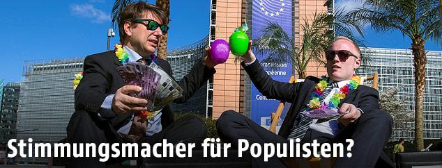 Aktionismus vor dem EU-Kommissionsgebäude in Brüssel