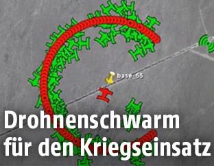 Grafische Ansicht der Drohnen im Schwarm