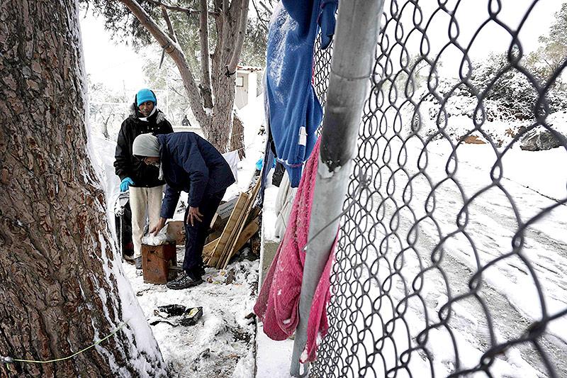 Flüchtlinge in einem Camp auf Lesbos