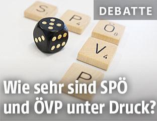 SPÖ- und ÖVP-Schriftzug beim Spiel Scrabble