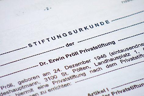 Screenshot der Stiftungsurkunde der Dr. Erwin Pröll Privatstiftung