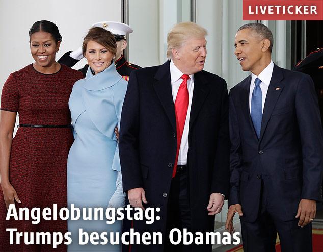 Donald Trump und seine Frau bei Barack und Michelle Obama