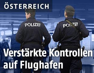 Polizisten am Flughafen Schwechat