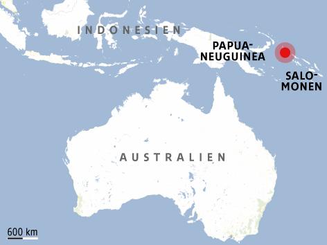 Karte zeigt das Epizentrum des Bebens vor Papua-Neuguinea