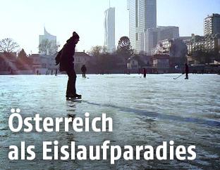 Eislaufen auf der Donau