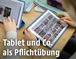 Schüler arbeiten mit Laptops