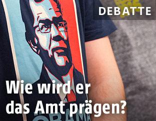 T-Shirt zeigt Portrait von Van der Bellen