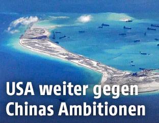 Aufgeschüttete Insel im südchinesischen Meer